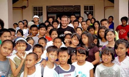 David Beckham visting youth care center at the Philippines