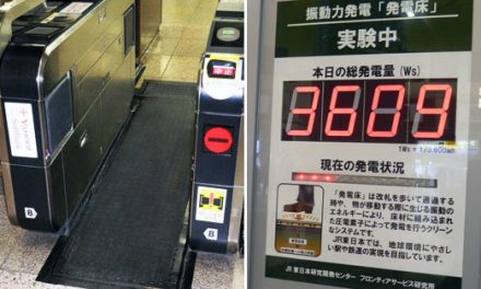 Commuter footsteps light up the Tokyo station