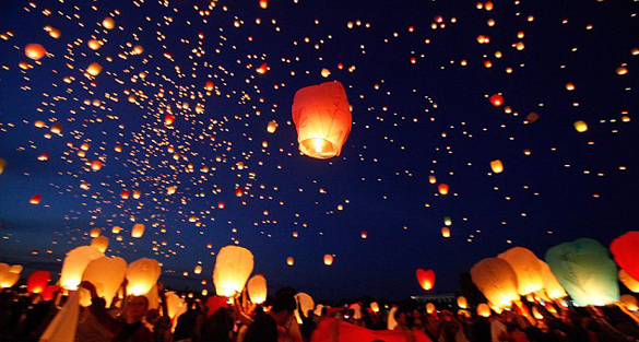 Lighting up paper lanterns to pray for luck caused serious fire