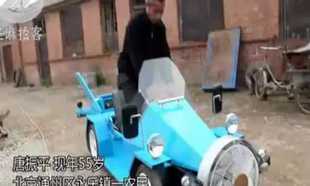 Chinese farmer builds amazing solar- and wind-powered car